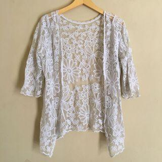 White Floral Lace Cardigan