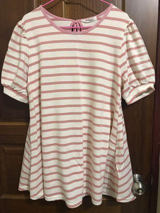 粉紅色條紋寬鬆長版上衣 蓬蓬袖 蝴蝶結 A字