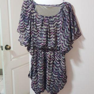 【服飾】韓版大U領大口袋波紋連身裙,均碼。九成新轉賣