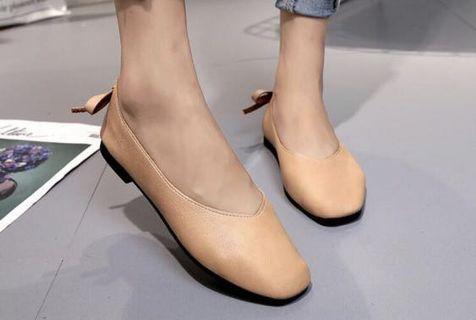 復古低跟方頭平底鞋