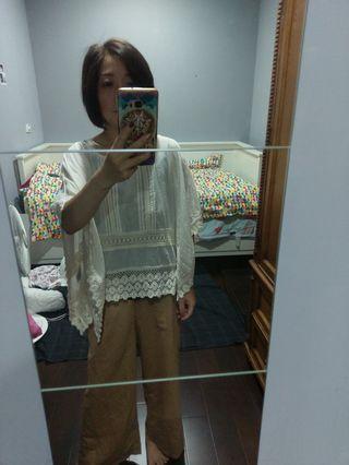 (日本帶回)原價:2980 全新earth 100%純棉米色大寬袖中國風上衣
