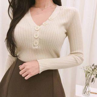 不對稱領口V領長袖上衣 skirt ( mixxmix ) 豎條紋 T恤 貼身 素色