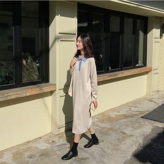 撞色設計長袖洋裝 dress ( mixxmix ) 長裙 針織 連身裙