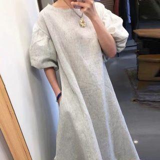 復古條紋寬鬆燈籠袖長洋裝
