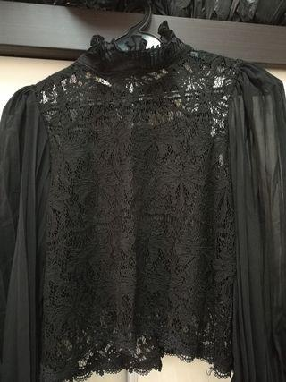 High Neck Lace Long Sleeve Top