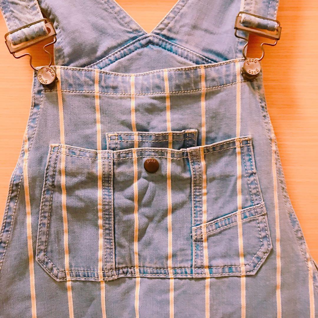 條紋吊帶褲(5分褲長/寬口)-M號