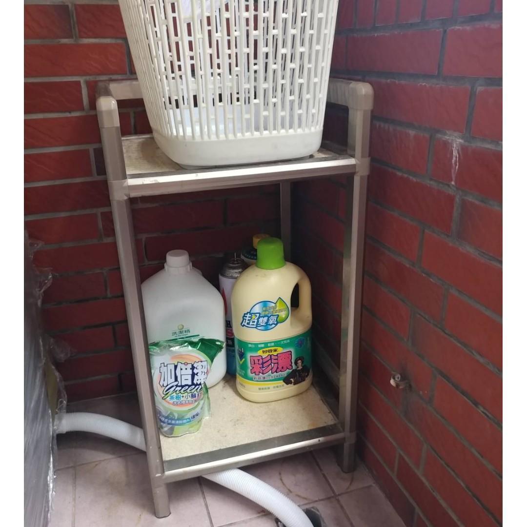二手 1.2尺雙層鋁架 陽台廚房浴室廁所客廳 雙層收納架 茶水架 置物架 收納架 櫥架層架 IKEA邊桌 鋁架雙層架茶車