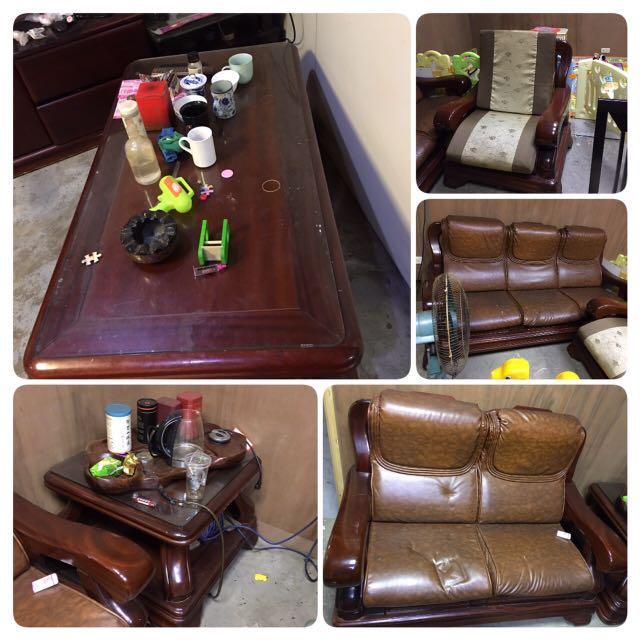搬家隨便賣,茶几、沙發、實木桌