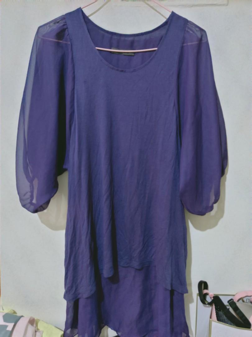 深紫雪紡上衣