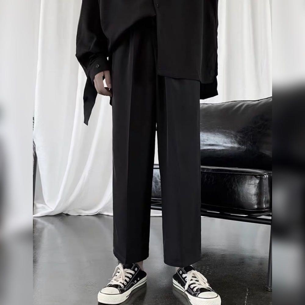 復古闊腿直筒休閒西褲秋款韓版寬鬆墜感九分褲