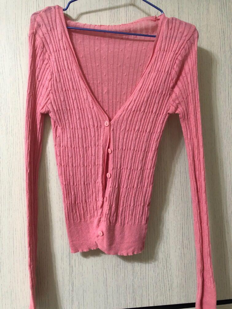 粉紅針織小外套