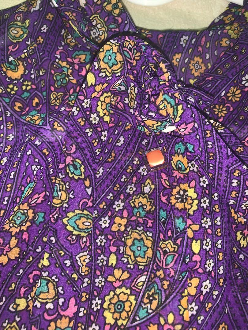 蝴蝶結領古著襯衫紫色 美到哭