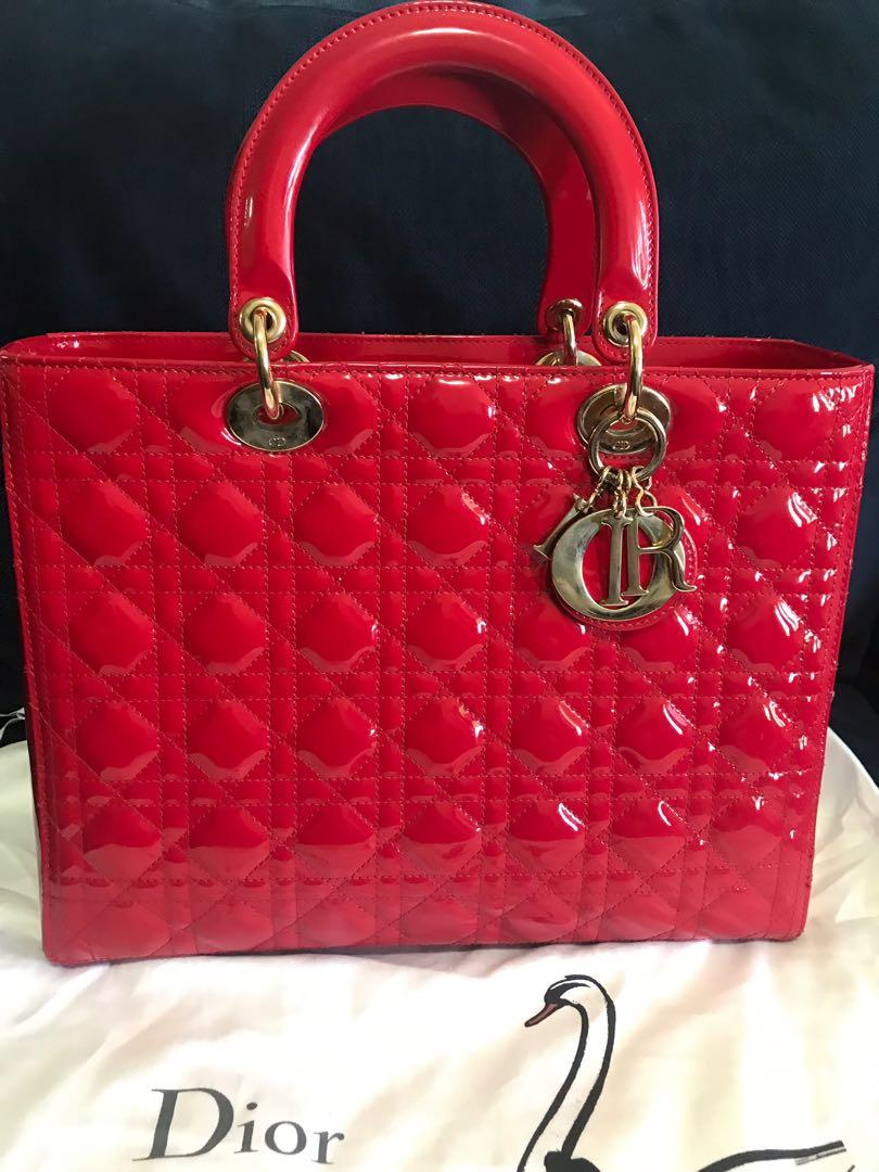 Authentic Christian Dior /lady Dior large patent leather RRP$7200