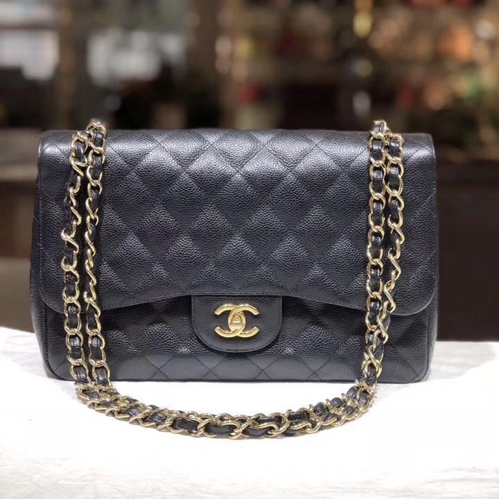 Authentic Pre-loved Chanel Jumbo Double Flap Caviar Leather GHW