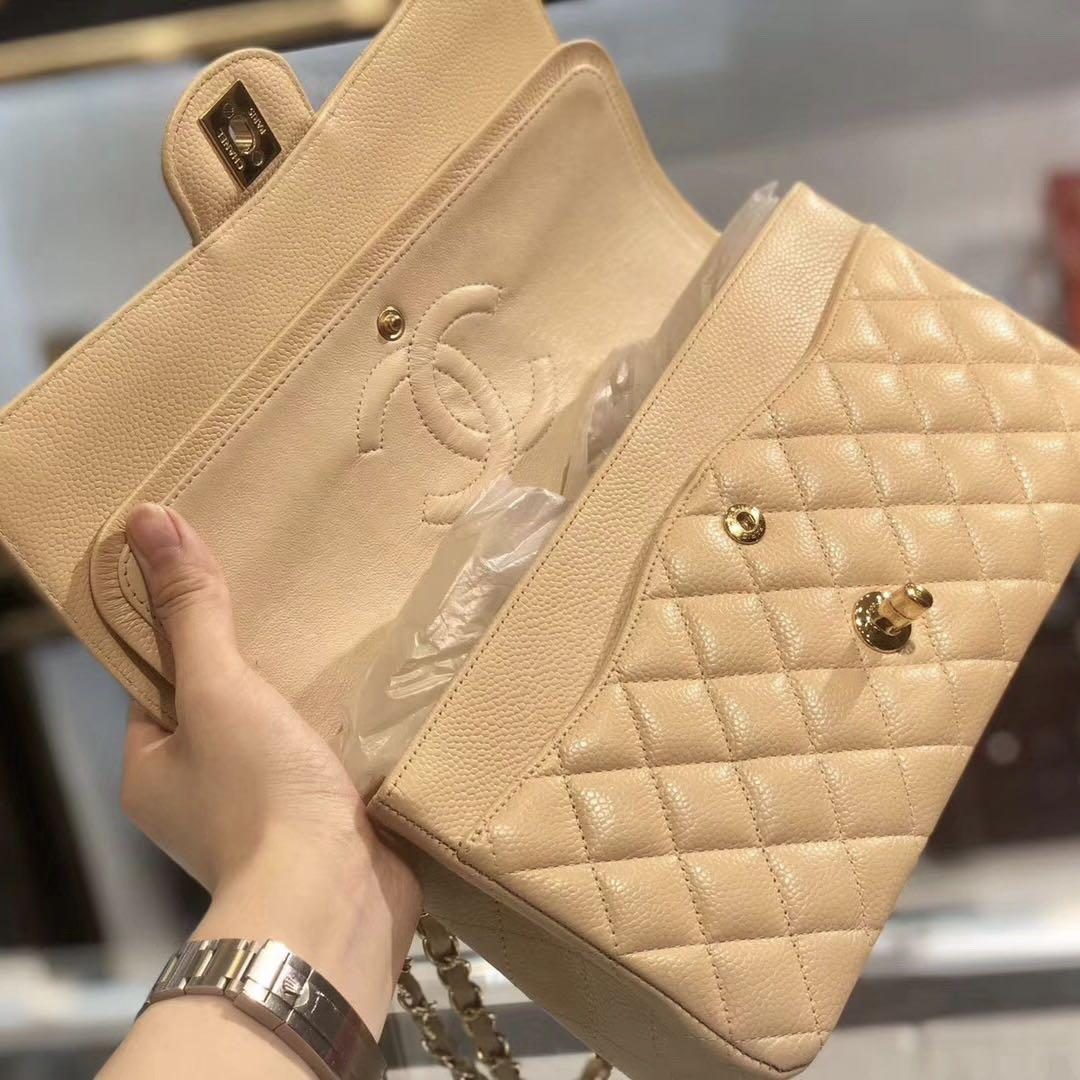 Authentic Pre-loved Chanel Medium Beige Caviar Leather Double Flap GHW