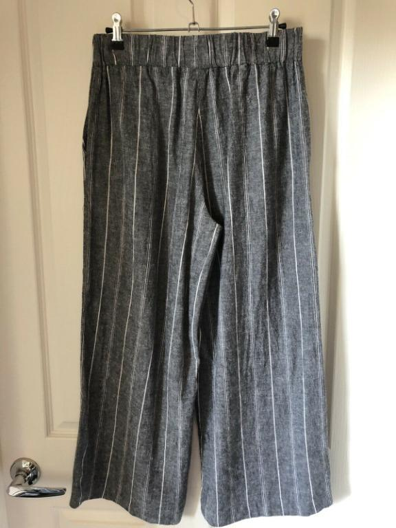 Bardot Culottes Grey Stripes Size 8 (Fit To 10-12) Professional Work Look/Casual RRP $139.99