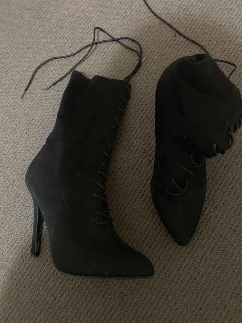 Black tie up boots