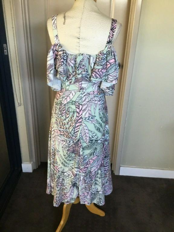 BNWOT Asilio Off Shoulder Colourful Floral Dress Sz 10 Polyester Lined RRP $520