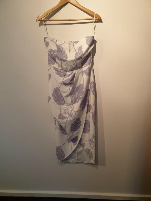 BNWOT Rosebullet White Blue Pattern Summer Sleeveless Strapless Dress Size 10