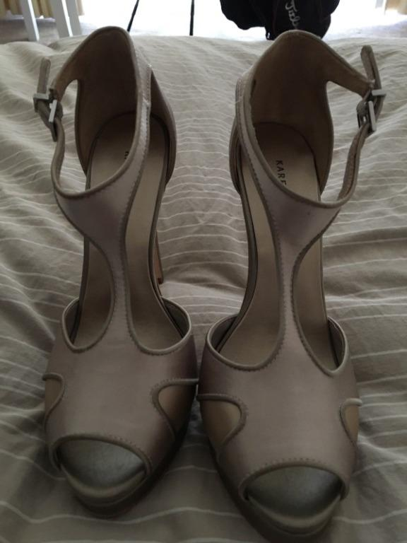 BNWT Karen Millen Satin Beige Gold Nude Platform Strap High Heels Size 38 RRP $225