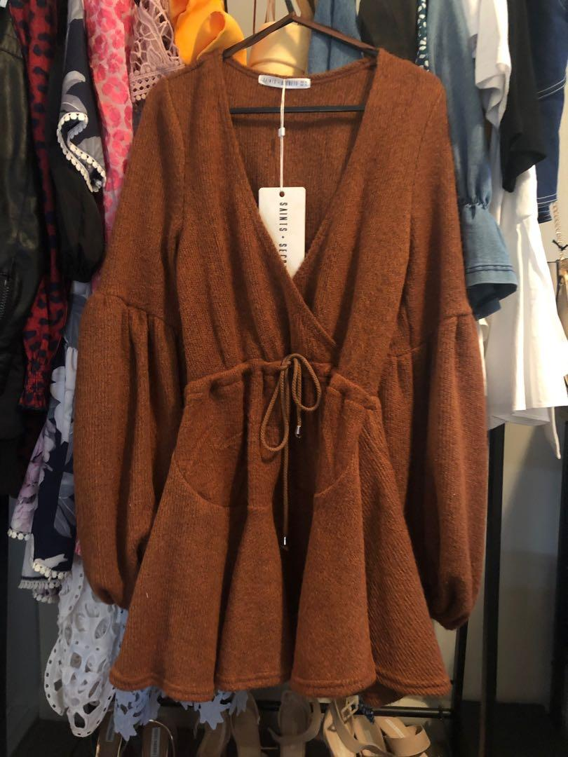 BNWT S&S Brown Tie Waist Dress with Balloon Sleeve Size Small