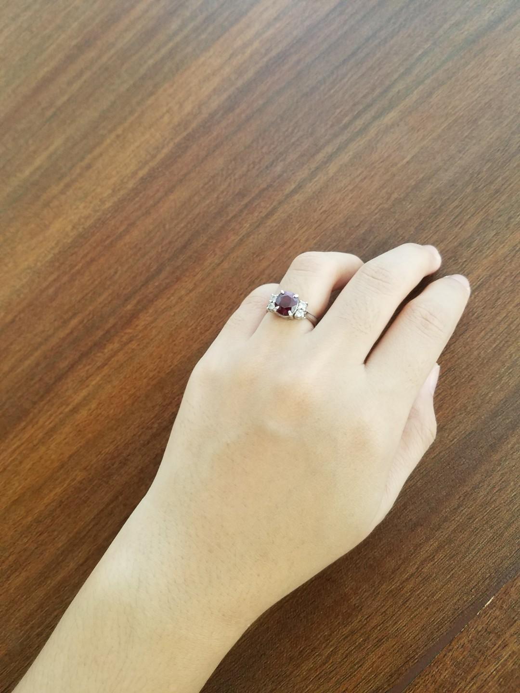 Cincin Emas Putih Wanita / Cincin Ruby (Ada memolab)