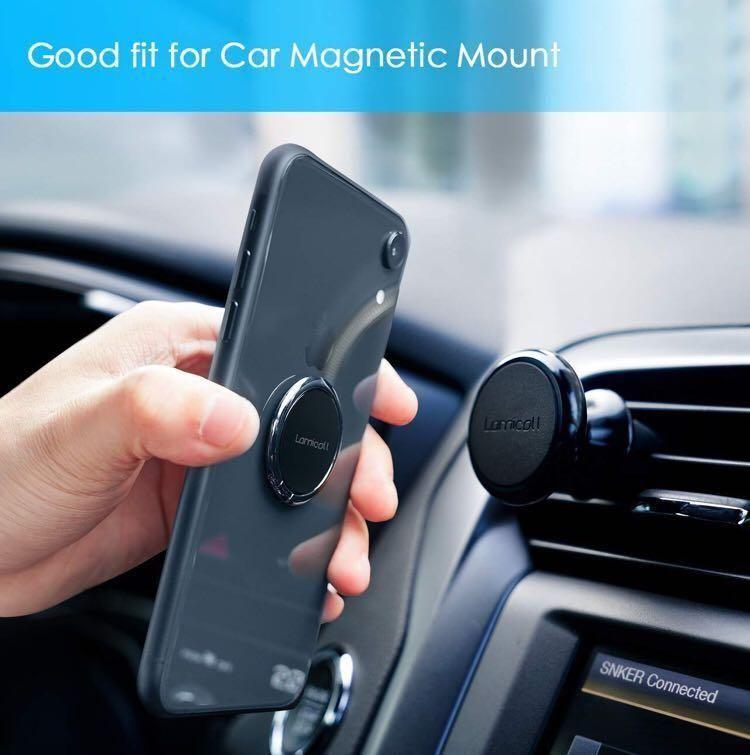 Finger Ring Stand, Lamicall Cell Phone Holder : Universal Phone Ring Cradle Kickstand Compatible with Phone Xs Max XR X 8 7 6 6s Plus 5s, Samsung Galaxy S8 S7 S6, All Android Smartphone - Black - 01 (M2223)