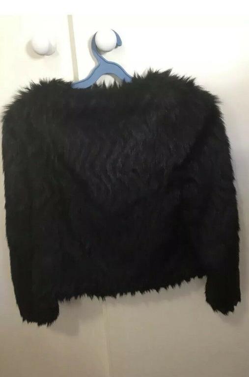 Forever New Black Fur Jacket Size 6/EUR 34 VGC Like New