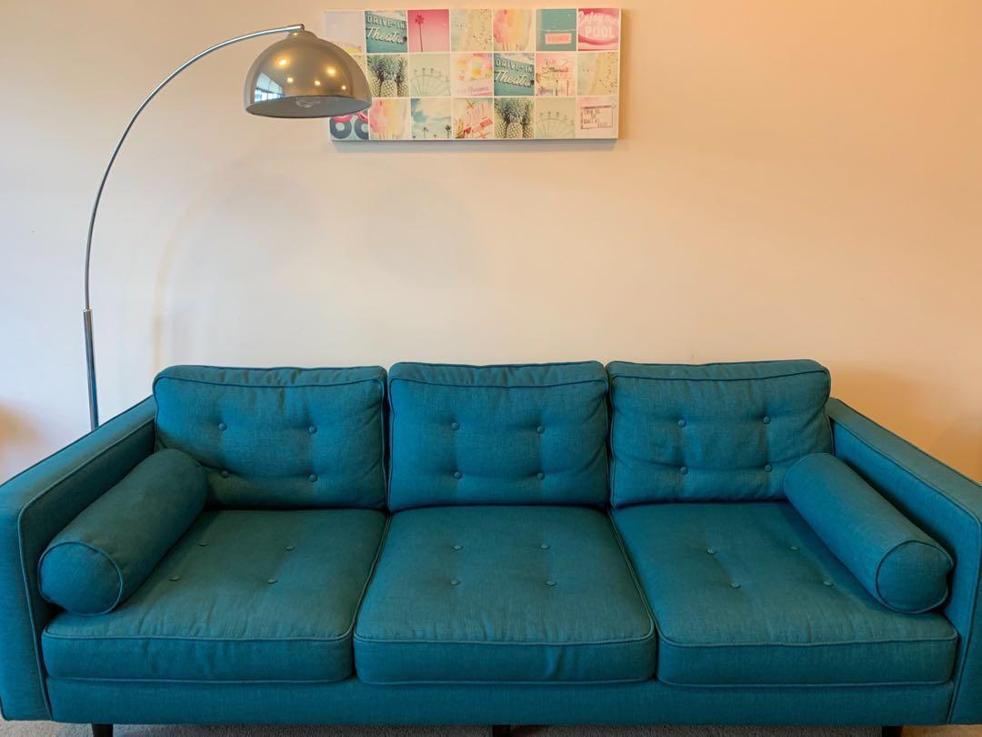 Freedom 2.5 seater lounge Copenhagen in cobalt, recently professionally cleaned