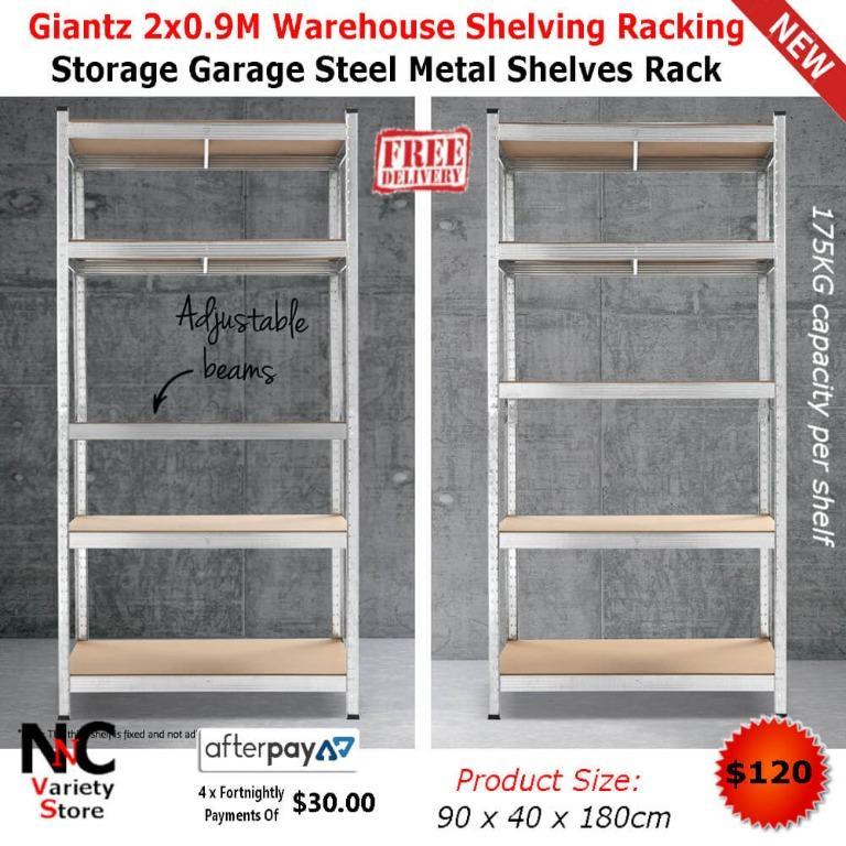 Giantz 2×0.9M Warehouse Shelving Racking Storage Garage Steel Metal Shelves Rack