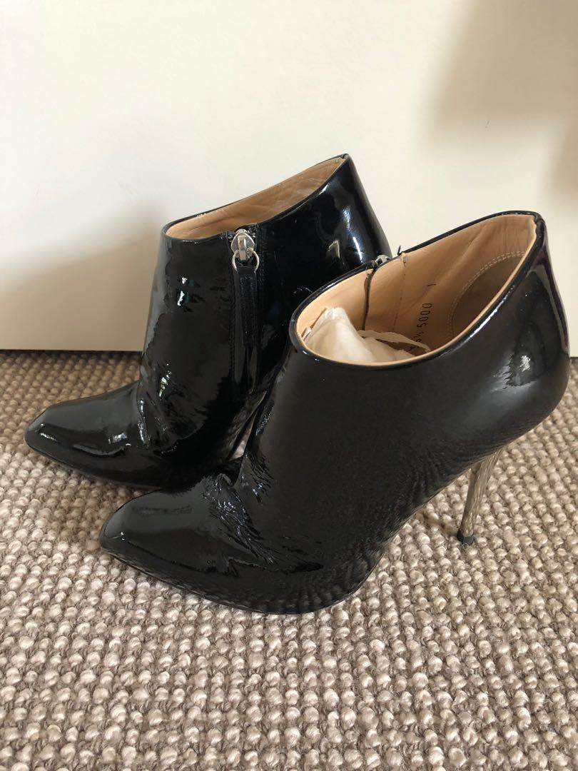 Giuseppe Zanotti Patent Leather Ankle Boot Size 36.5 Retail US $750