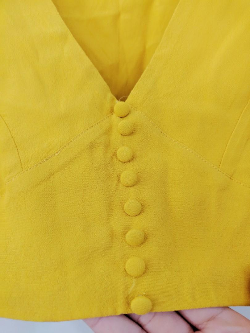 Glassons Mustard Yellow Button Up Crop Top AU Size 10