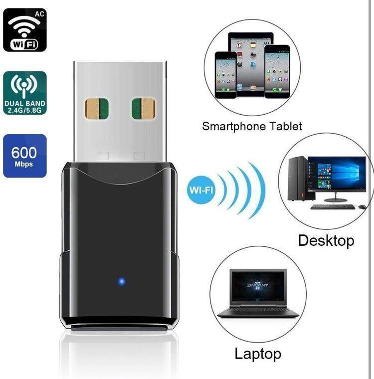 HANPURE USB Wifi Dongle, Wifi adapter for PC Laptop 600Mbps Dual Band 2.4G/5.8G, Supports Windows 7/8/10, Mac OS X 10.6-10.13 (M2224)