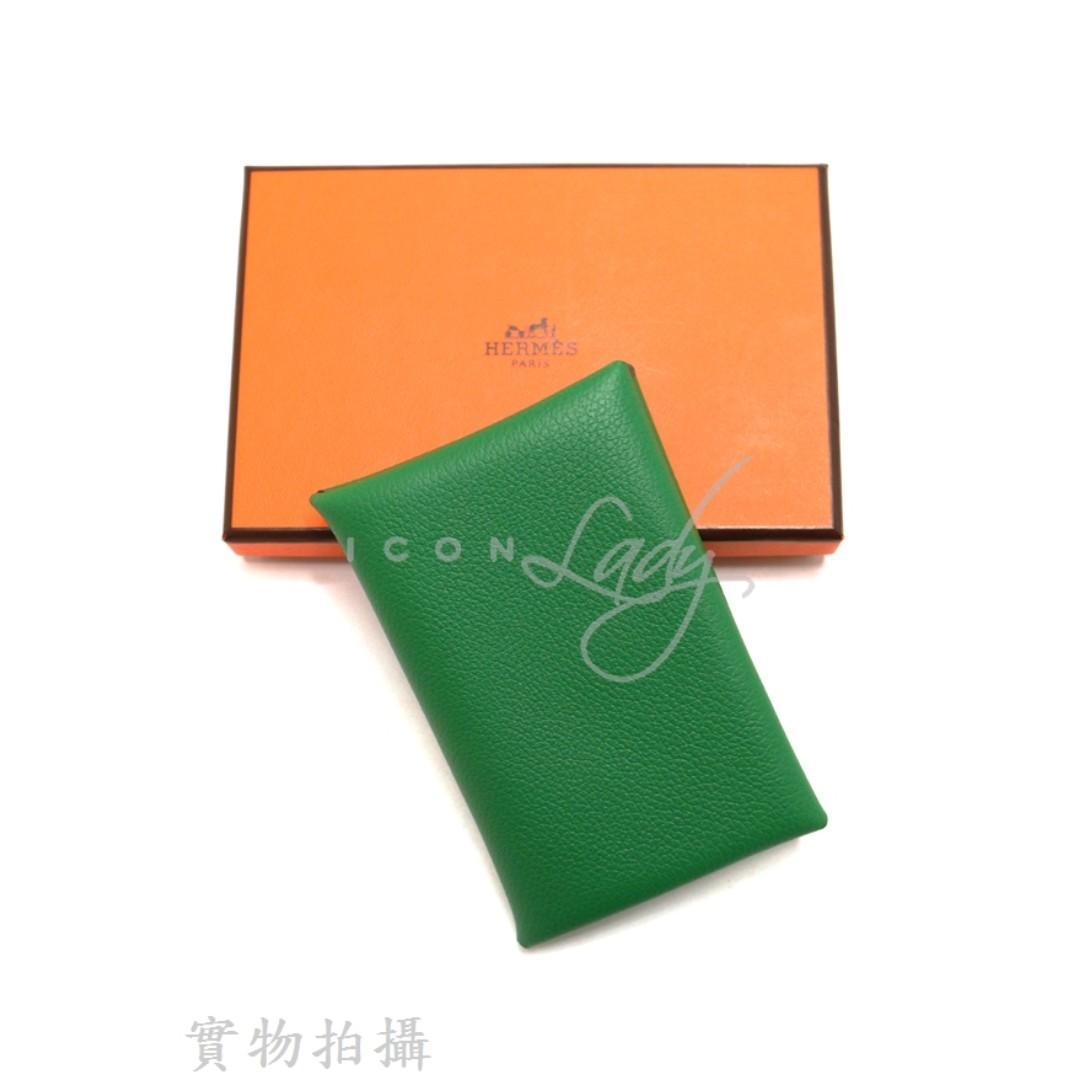 HERMES Calvi Envelope 綠色 牛皮 壓紋皮革卡片套