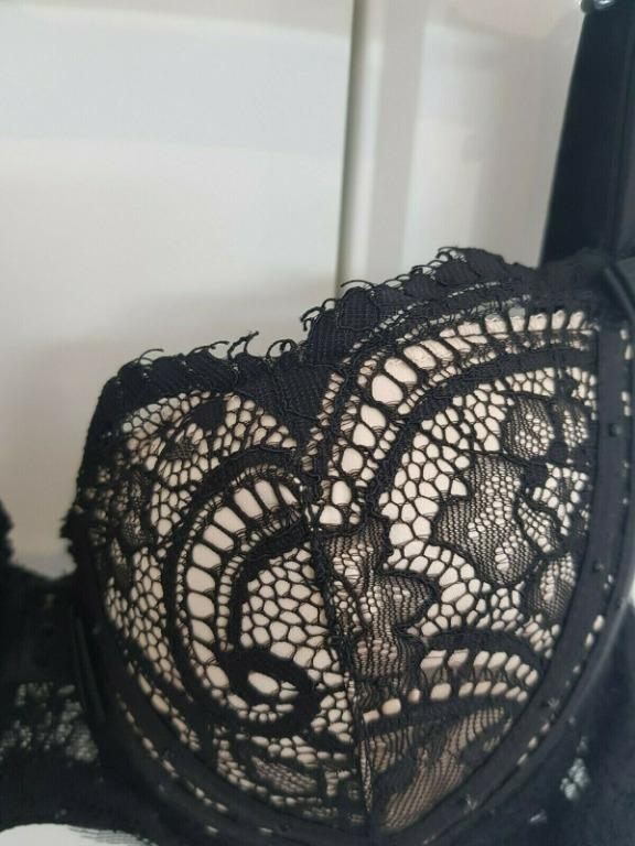 Honey Birdette Black Cream Beige Lace Bra Sweet Sexy Lingerie 10B/32B VGC
