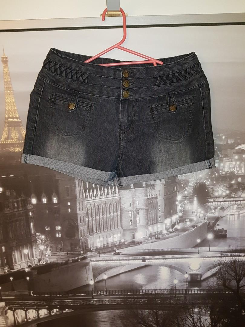 Jay Jays Washed Black High Waisted Denim Shorts | Size 10