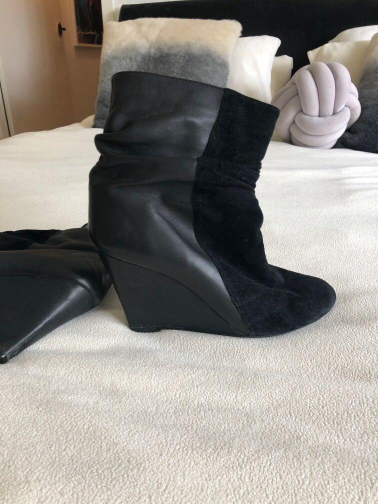Jeffrey Campbell Black Leather & Suede Wedge Ankle Boots