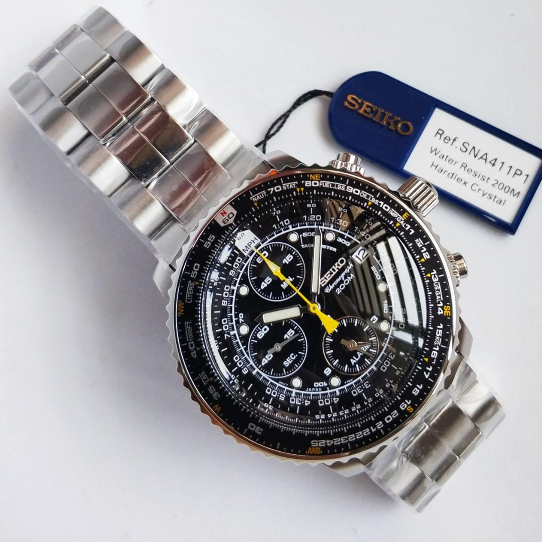 Legendary Seiko Flightmaster SNA411 SNA411P1 SNA411P Pilot's Flight Alarm Chronograph Men's Watch