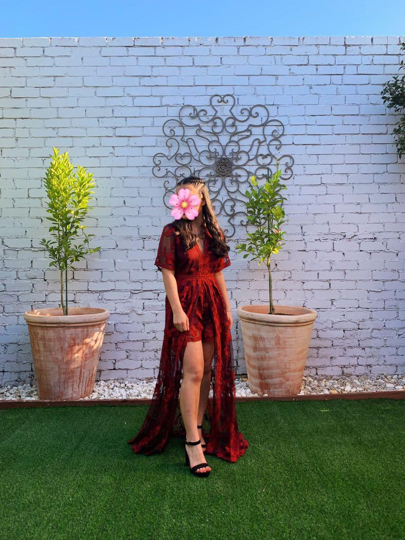 'LETS GET LOUD MAXI PLAYSUIT IN WINE LACE' from SHOWPO - RENT