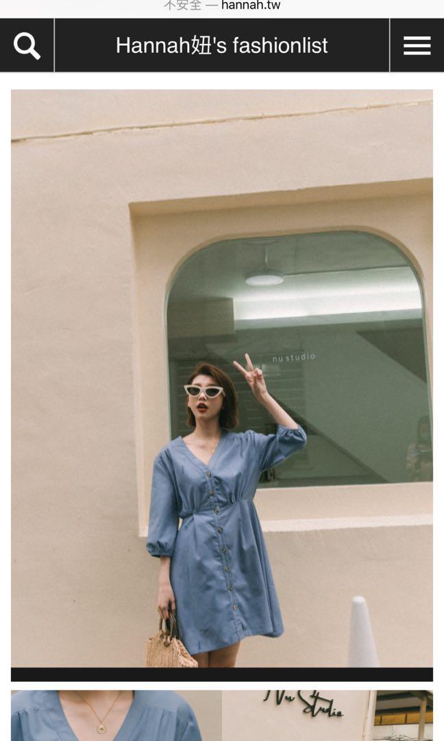 Mercci22 前排釦棉麻洋裝 藍色