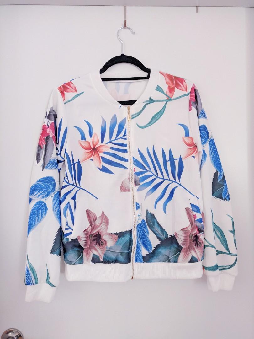 No Brand White Lightweight Floral Bomber Jacket Size L Large