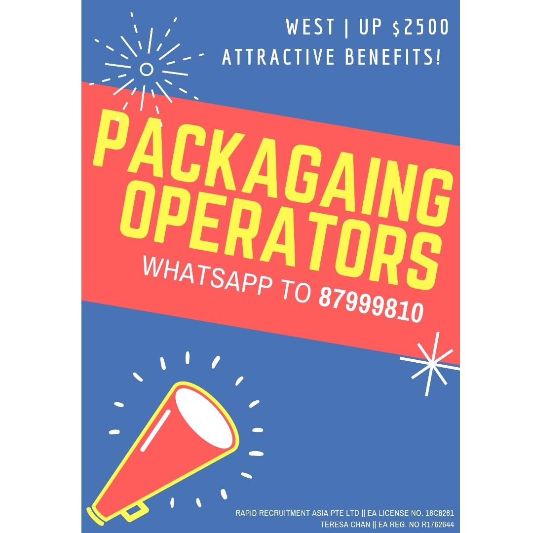 Packaging Operators @ West (UP $2500, Start ASAP!!!)