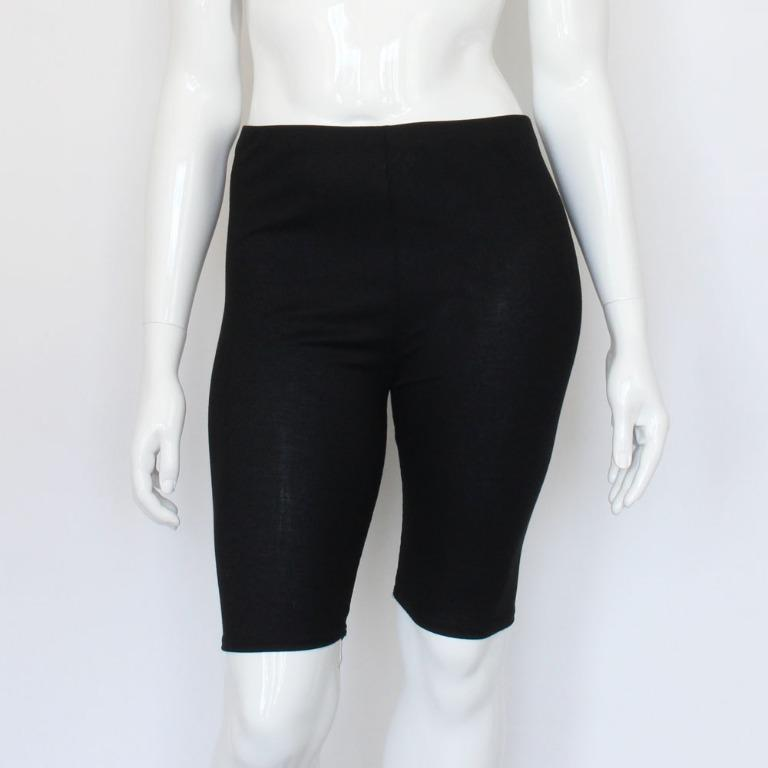 Pretty Little Thing Plus Black Ribbed Cycling Shorts