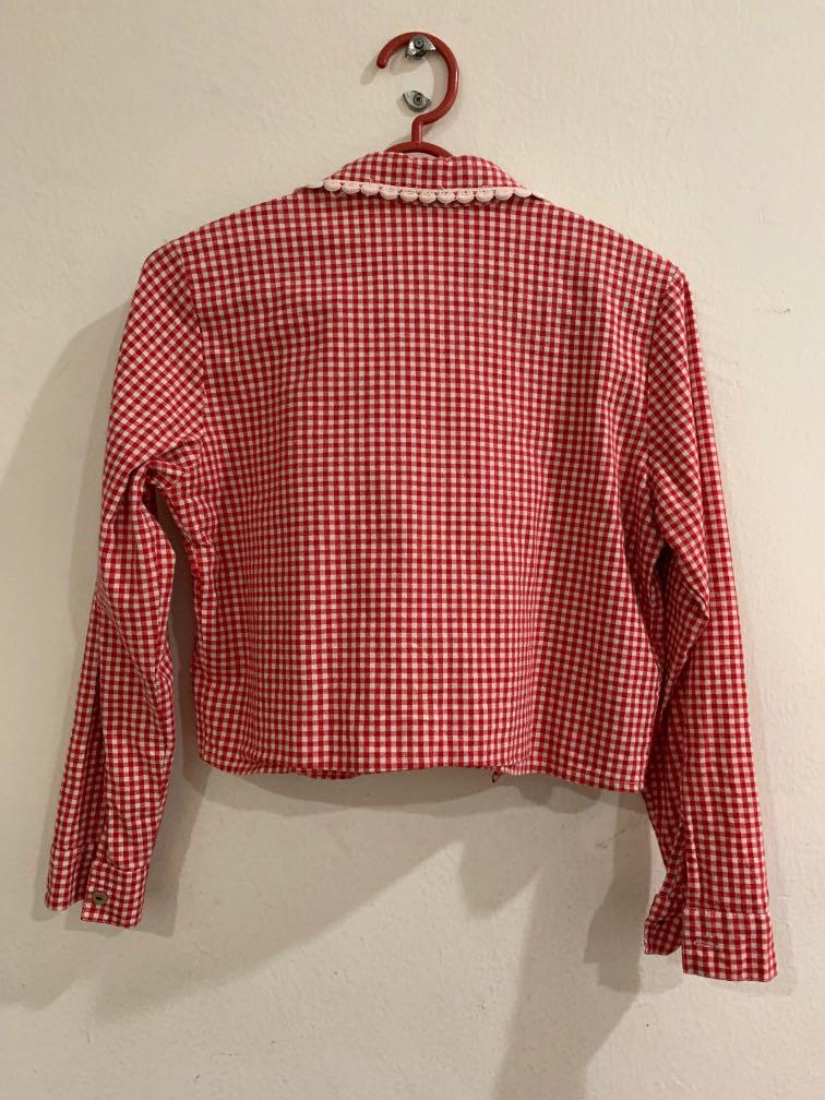 Red Checkered Crop Top