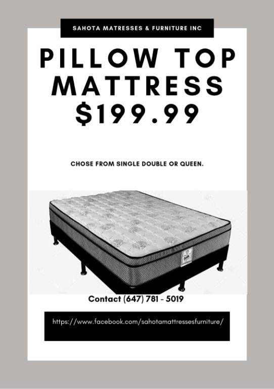SINGLE DOUBLE OR QUEEN PILLOW TOP MATTRESS ONLY 199.99 NO TAX NO EXTRA FEES