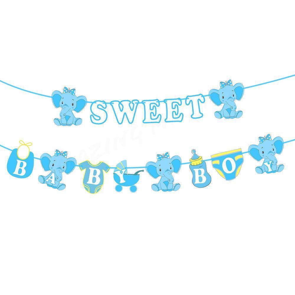 Sweet Baby Boy/ Girl Blue/ Pink Elephant Banner #MRTCCK #MRTWoodlands #MRTJurongEast