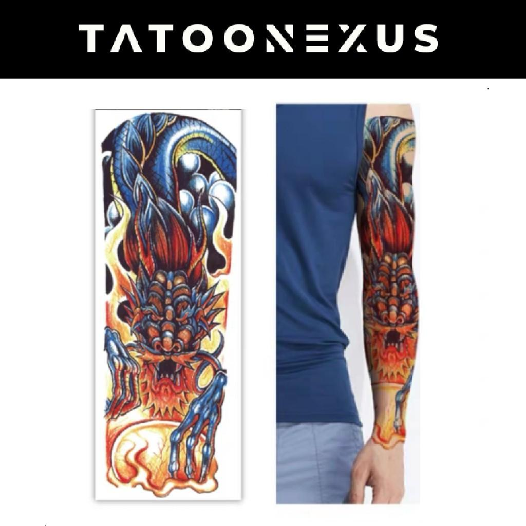 Waterproof Temporary Tattoo Stickers Dragon Fire Full Arm Body Art Tattoos Fake Tatto Back Flash Tatoo For Men Women Design Craft Art Prints On Carousell
