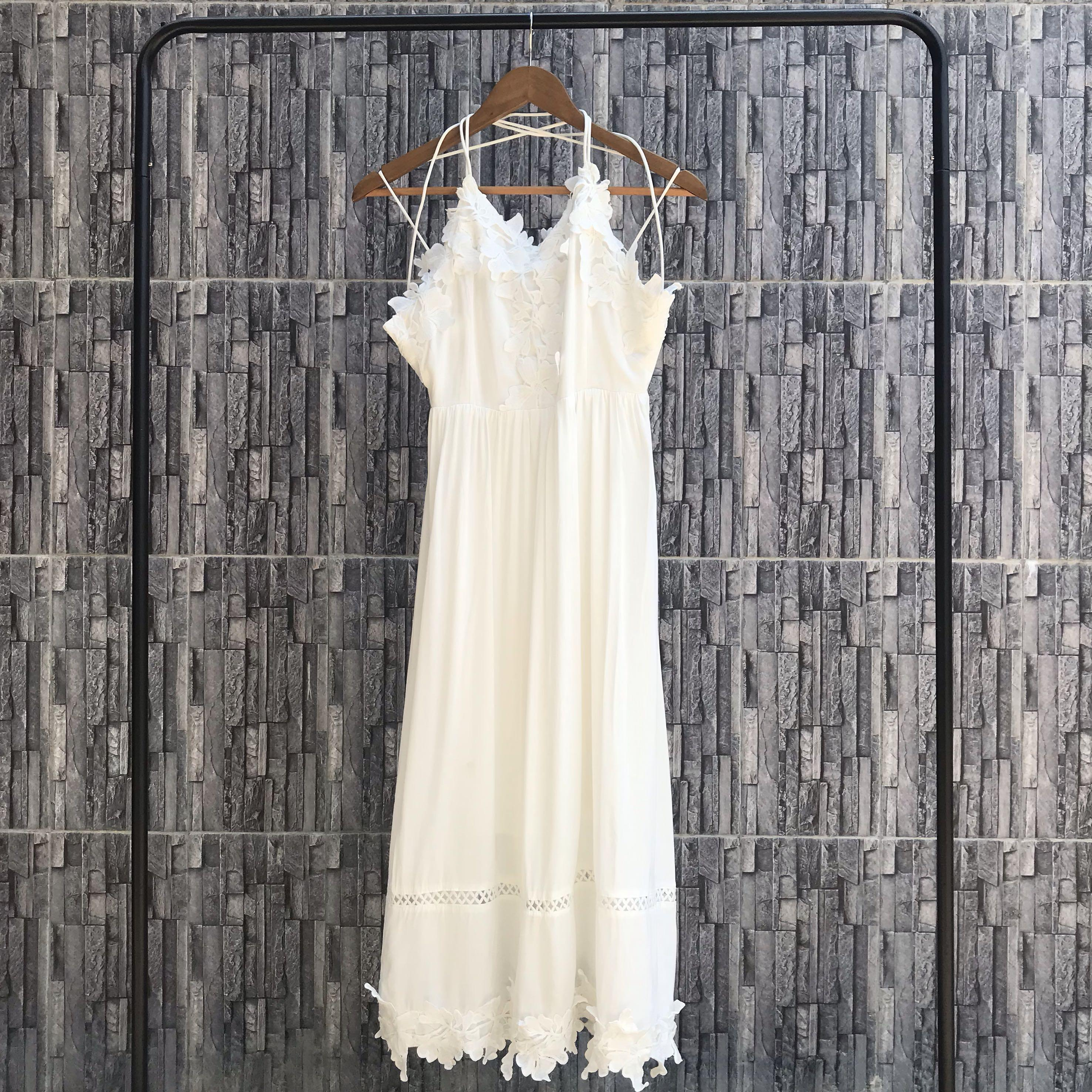 SALE White Lace Backless Long Dress