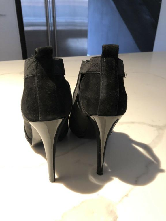 Witchery Black Suede & Elastic Ankle Boots In Size 38 VGC
