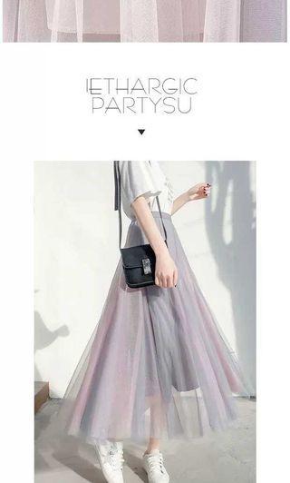 【服飾】INS風高腰雙色紗裙仙女裙,灰粉2XL。全新轉賣